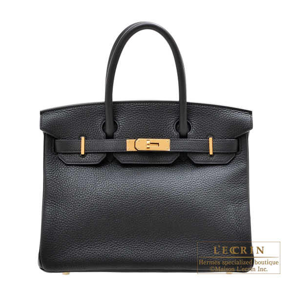 Hermes Birkin bag 30 Black Clemence leather Gold hardware