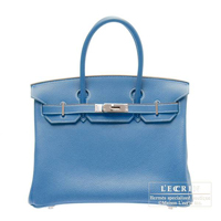 Hermes Birkin Eclat bag 30 Mykonos/White Clemence leather Silver hardware