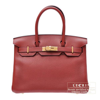 Hermes Birkin bag 30 Rouge H Clemence leather Gold hardware
