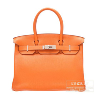 Hermes Birkin bag 30 Orange Clemence leather Silver hardware
