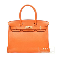 Hermes Birkin bag 30 Orange Clemence leather Gold hardware