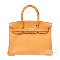 Hermes Birkin bag 30 Moutarde Clemence leather Gold hardware
