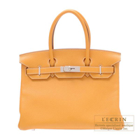 Hermes Birkin bag 30 Moutarde Clemence leather Silver hardware