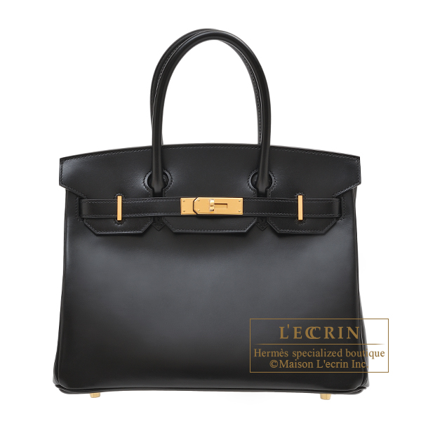 Hermes Birkin bag 30 Black Box calf leather Gold hardware