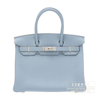 Hermes Birkin bag 30 Blue lin Togo leather Silver hardware