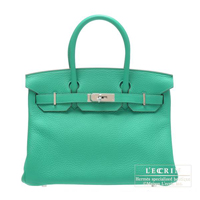 Hermes Birkin bag 30 Menthe Clemence leather Silver hardware