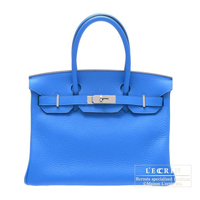 Hermes Birkin bag 30 Blue hydra Clemence leather Silver hardware