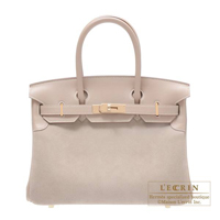 Hermes Birkin bag 30 Argile Grizzly/Swift Champagne gold hardware