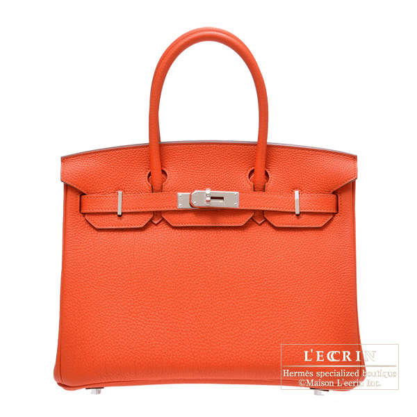 Hermes Birkin bag 30 Capucine Togo leather Silver hardware