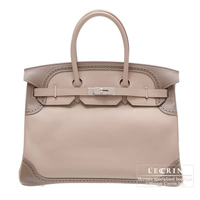 Hermes Birkin Ghillies bag 35 Argile/Etoupe grey Swift leather Silver hardware