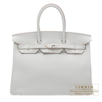 Hermes Birkin bag 35 Pearl grey Clemence leather Silver hardware