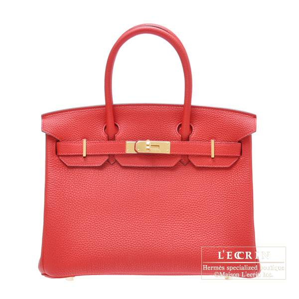Hermes Birkin bag 30 Geranium Togo leather Gold hardware