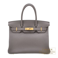 Hermes Birkin bag 30 Etain Togo leather Gold hardware