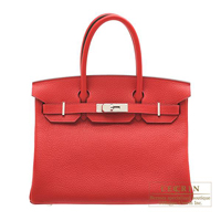 Hermes Birkin bag 30 Rouge casaque Clemence leather Silver hardware
