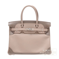 Hermes Birkin Ghillies bag 30 Argile/Etoupe grey Swift leather Silver hardware