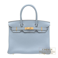 Hermes Birkin bag 30 Blue lin Clemence leather Gold hardware