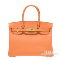 Hermes Birkin bag 30 Mango Epsom leather Gold hardware