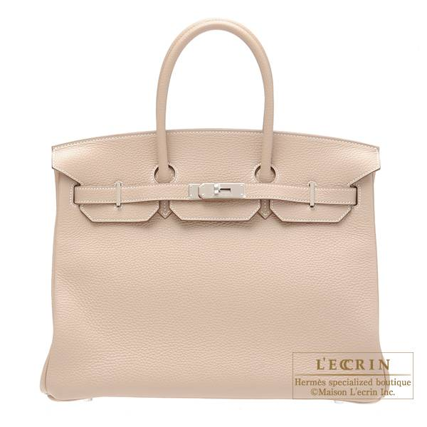 Hermes Birkin bag 35 Argile Clemence leather Silver hardware