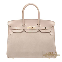 Hermes Birkin bag 35 Argile Grizzly leather/Swift leather Champagne gold