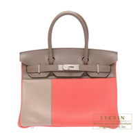 Hermes Birkin Casaque bag 30 Rose jaipur/Etoupe grey/Argile Clemence/Swift Matt silver hardware
