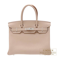 Hermes Birkin bag 30 Argile Clemence leather Silver hardware