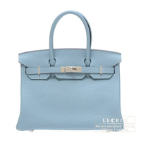 Hermes Birkin bag 30 Ciel Fjord leather Silver hardware