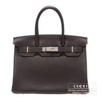 Hermes Birkin bag 30 Ebene Clemence leather Silver hardware