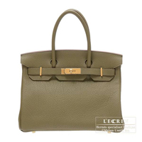 Hermes Birkin bag 30 Lichen Fjord leather Gold hardware