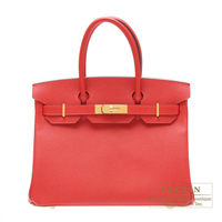 Hermes Birkin bag 30 Rouge casaque Epsom leather Gold hardware