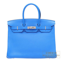 Hermes Birkin bag 35 Blue hydra Clemence leather Silver hardware