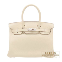Hermes Birkin bag 30 Parchemin Clemence leather Silver hardware