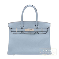 Hermes Birkin bag 30 Blue lin Clemence leather Silver hardware