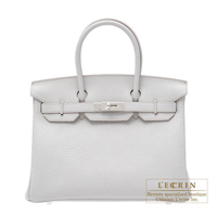 Hermes Birkin bag 30 Pearl grey Fjord leather Silver hardware