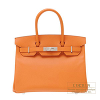 Hermes Birkin bag 30 Orange Epsom leather Silver hardware