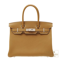 Hermes Birkin bag 30 Kraft Clemence leather Silver hardware
