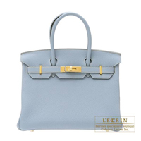 Hermes Birkin bag 30 Blue lin Togo leather Gold hardware