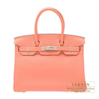 Hermes Birkin bag 30 Crevette Clemence leather Silver hardware