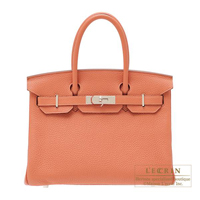 Hermes Birkin bag 30 Rose tea Clemence leather Silver hardware