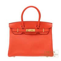 Hermes Birkin bag 30 Capucine Togo leather Gold hardware