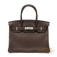 Hermes Birkin bag 30 Cacao Clemence leather Silver hardware