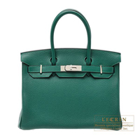 Hermes Birkin bag 30 Malachite Clemence leather Silver hardware