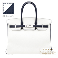 Hermes Personal Birkin bag 35 White/Blue indigo Clemence leather Mat Silver  hardware