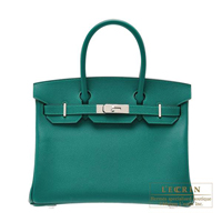 Hermes Birkin bag 30 Malachite Epsom leather Silver hardware