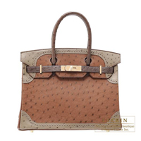 Hermes Birkin Ghillies bag 30 Marron fonce/Etrusque/Mousse Ostrich leather Champagne gold hardware