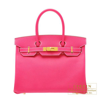 Hermes Birkin bag 30 Rose tyrien Epsom leather Gold hardware