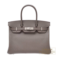 Hermes Birkin bag 30 Etain Epsom leather Silver hardware