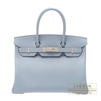 Hermes Birkin bag 30 Blue lin Epsom leather Silver hardware