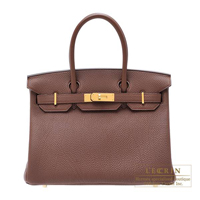 Hermes Birkin bag 30 Brulee Togo leather Gold hardware