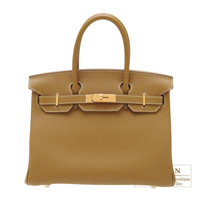 Hermes Birkin bag 30 Kraft Clemence leather Gold hardware
