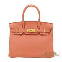 Hermes Birkin bag 30 Rose tea Clemence leather Gold hardware